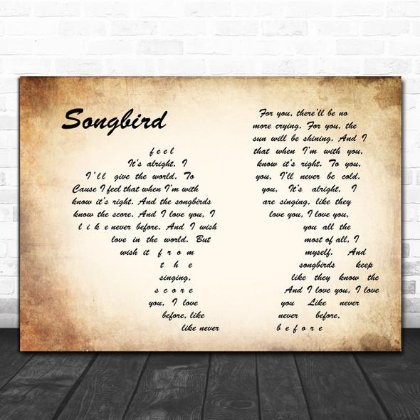 Fleetwood Mac Songbird Man Lady Couple Song Lyric Art Print