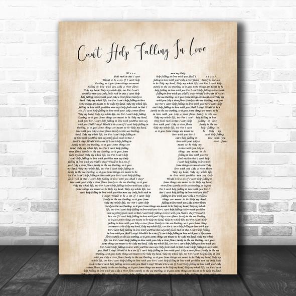 Elvis Presley Can't Help Falling In Love Lesbian Women Gay Brides Couple Wedding Song Lyric Art Print