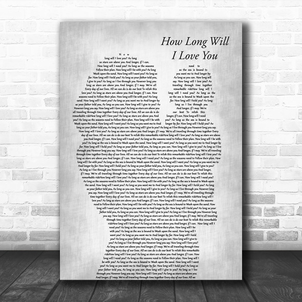 Ellie Goulding How Long Will I Love You Mother & Baby Grey Song Lyric Art Print