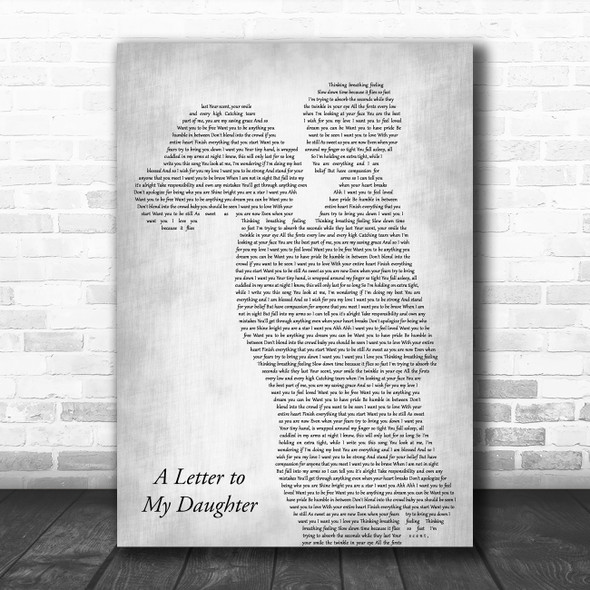 Kerri Brown A Letter to My Daughter Mother & Child Grey Song Lyric Art Print