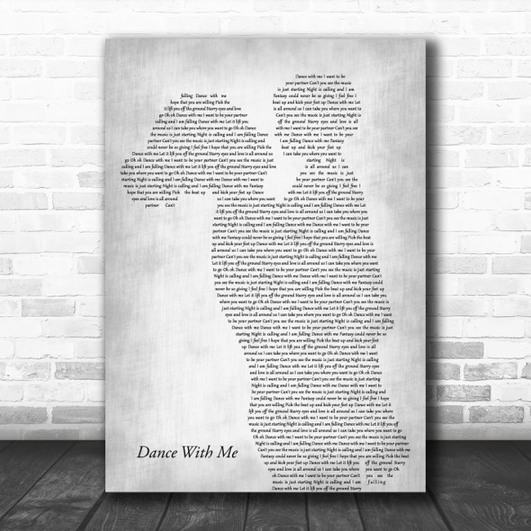 Orleans Dance With Me Mother & Child Grey Song Lyric Art Print