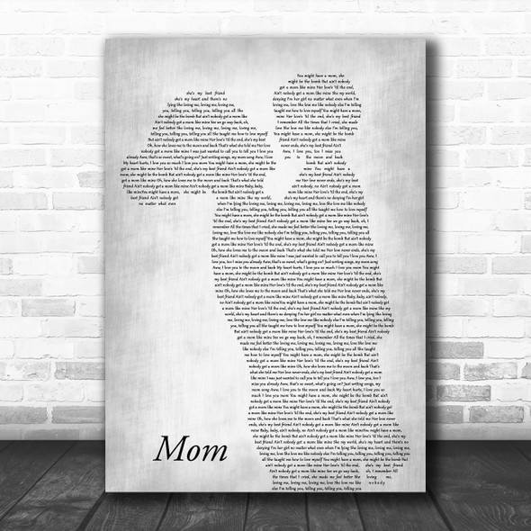 Meghan Trainor Mom Mother & Child Grey Song Lyric Art Print