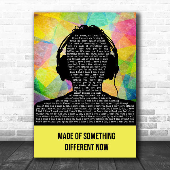 Snow Patrol Made Of Something Different Now Multicolour Man Headphones Song Lyric Art Print