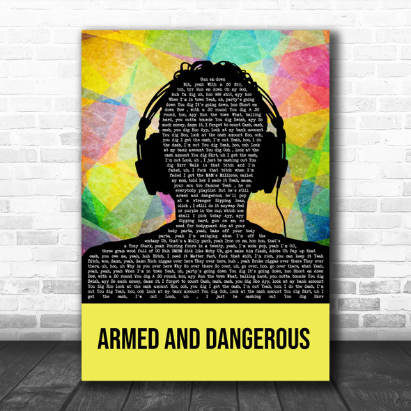Juice Wrld Armed And Dangerous Multicolour Man Headphones Song Lyric Art Print