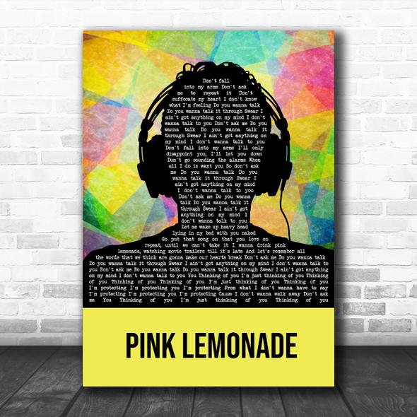 James Bay Pink Lemonade Multicolour Man Headphones Song Lyric Art Print