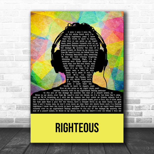Juice Wrld Righteous Multicolour Man Headphones Song Lyric Art Print