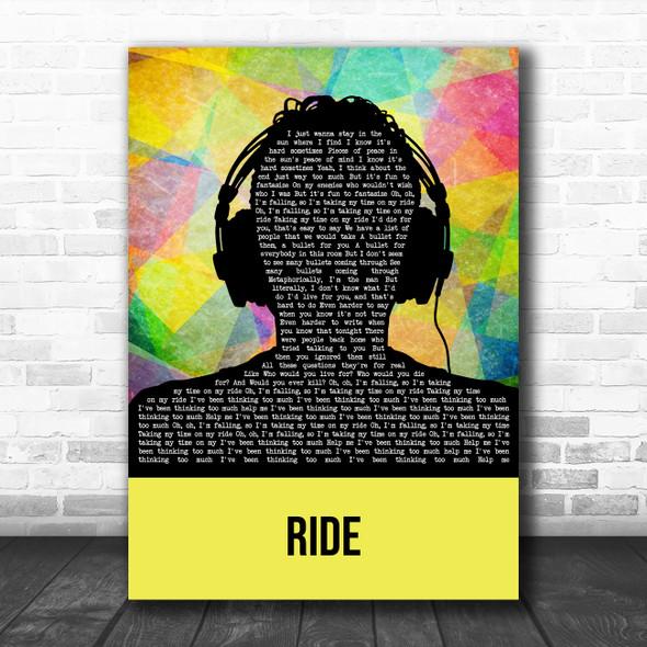 Twenty One Pilots Ride Multicolour Man Headphones Song Lyric Art Print