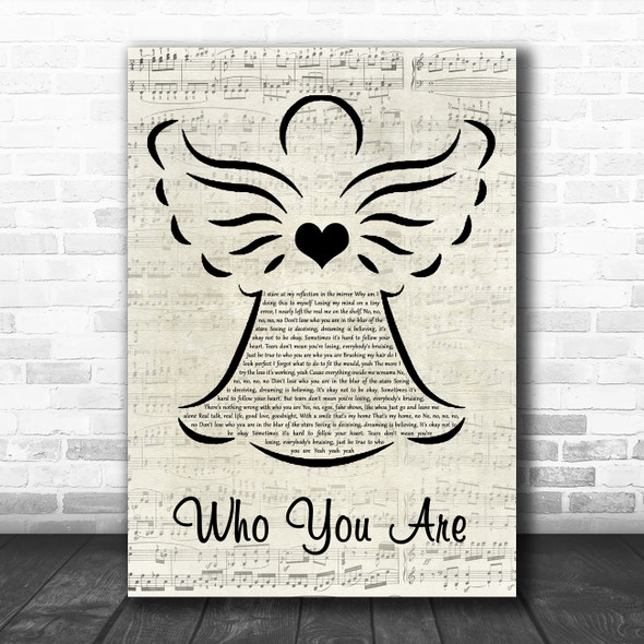 Jessie J Who You Are Music Script Angel Song Lyric Art Print