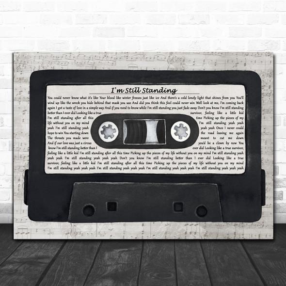 Elton John I'm Still Standing Music Script Cassette Tape Song Lyric Art Print