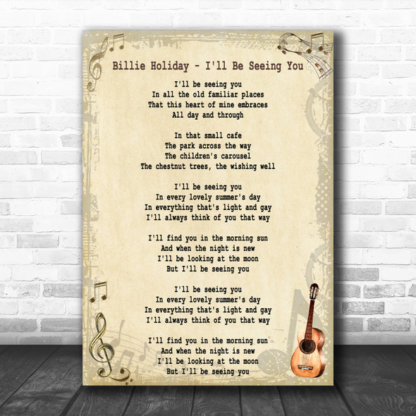 Billie Holiday I'll Be Seeing You Song Lyric Music Wall Art Print