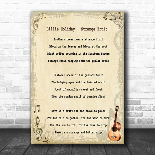 Billie Holiday Strange Fruit Song Lyric Music Wall Art Print