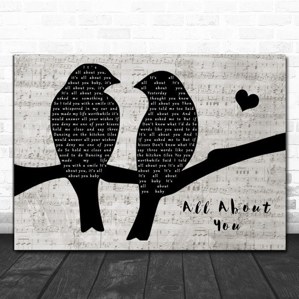 McFly All About You Lovebirds Music Script Song Lyric Art Print
