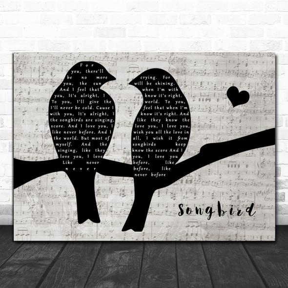 Fleetwood Mac Songbird Lovebirds Music Script Song Lyric Art Print