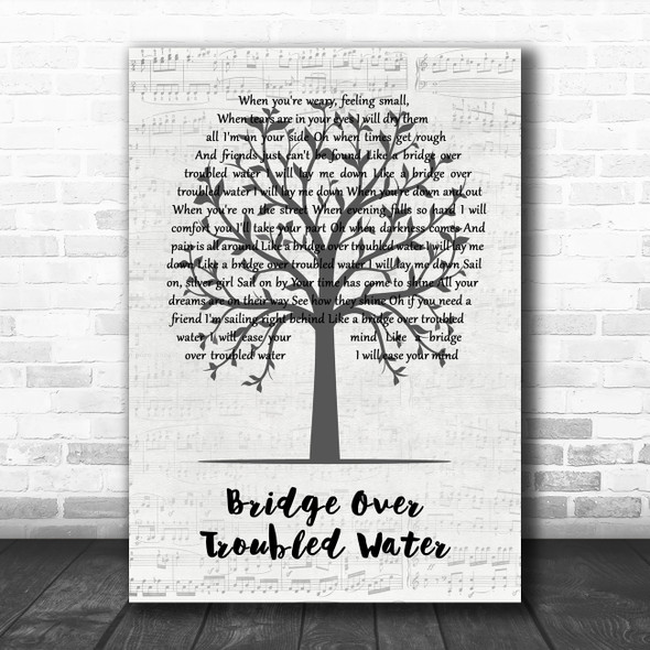 Simon & Garfunkel Bridge Over Troubled Water Music Script Tree Song Lyric Art Print