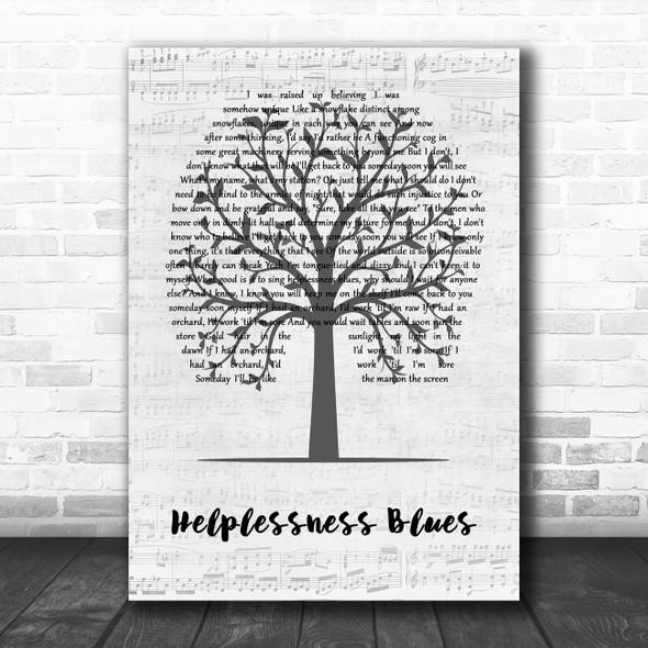 Fleet Foxes Helplessness Blues Music Script Tree Song Lyric Art Print
