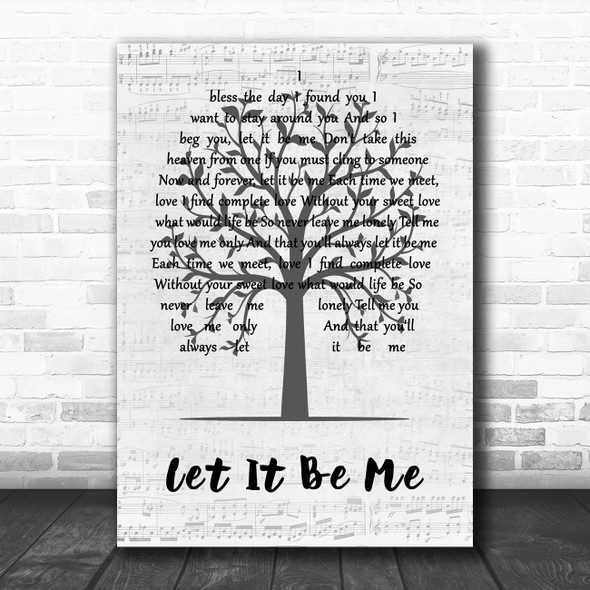 The Everly Brothers Let It Be Me Music Script Tree Song Lyric Art Print