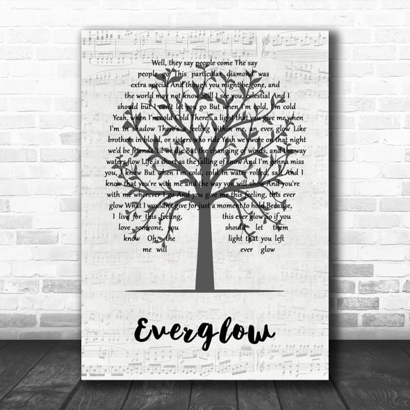 Coldplay Everglow Music Script Tree Song Lyric Art Print