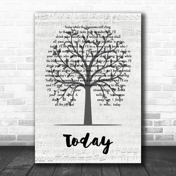 John Denver Today Music Script Tree Song Lyric Art Print