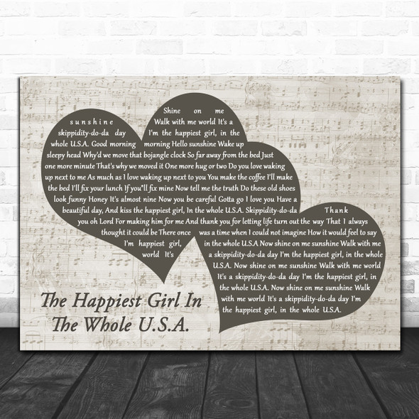 Tanya Tucker The Happiest Girl In The Whole U.S.A. Landscape Music Script Two Hearts Song Lyric Art Print