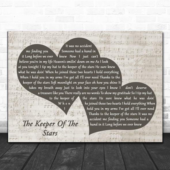 Tracy Byrd The Keeper Of The Stars Landscape Music Script Two Hearts Song Lyric Art Print