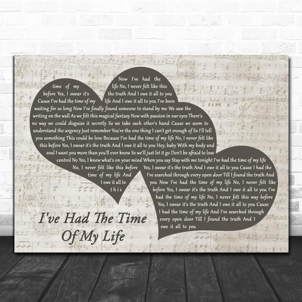 Bill Medley Jennifer Warnes I've Had The Time Of My Life Landscape Music Script Two Hearts Song Lyric Art Print