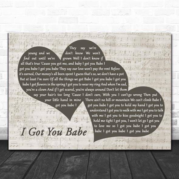 Sonny & Cher I Got You Babe Landscape Music Script Two Hearts Song Lyric Art Print