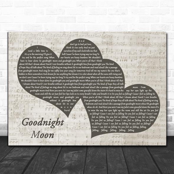 Go Radio Goodnight Moon Landscape Music Script Two Hearts Song Lyric Art Print