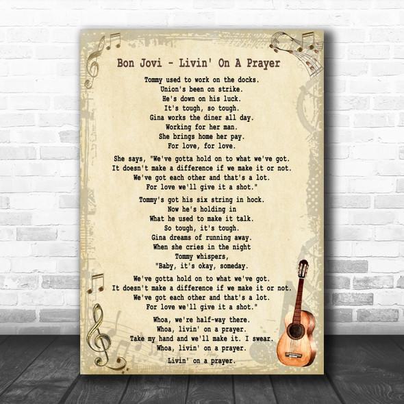 Bon Jovi Livin' On A Prayer Song Lyric Music Wall Art Print