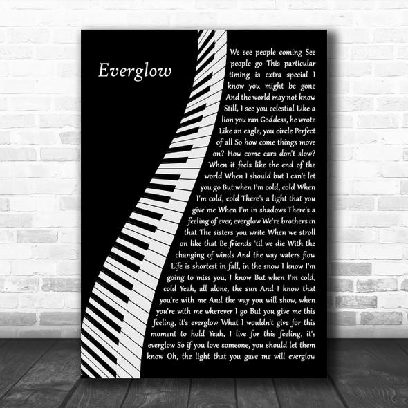Coldplay Everglow Piano Song Lyric Art Print