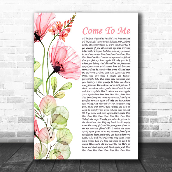 Goo Goo Dolls Come To Me Floral Poppy Side Script Song Lyric Art Print