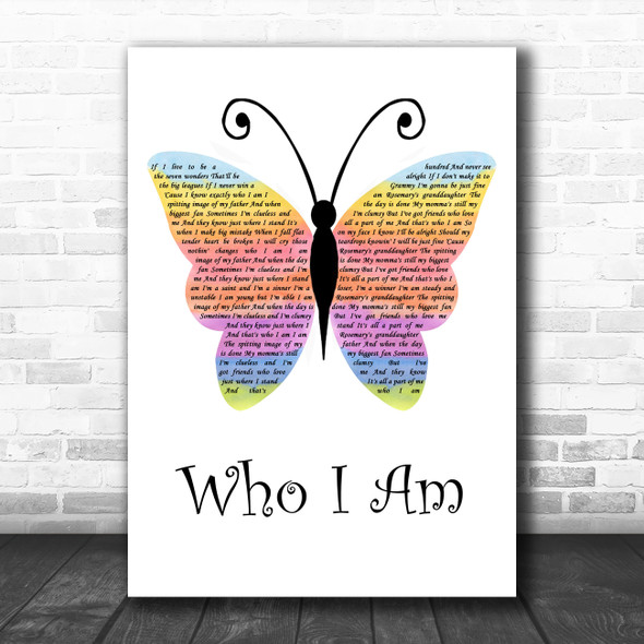 Jessica Andrews Who I Am Rainbow Butterfly Song Lyric Art Print
