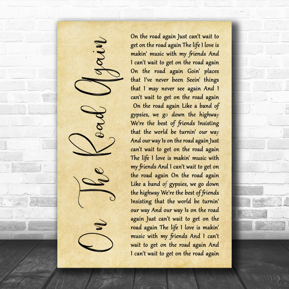Willie Nelson On The Road Again Rustic Script Song Lyric Art Print