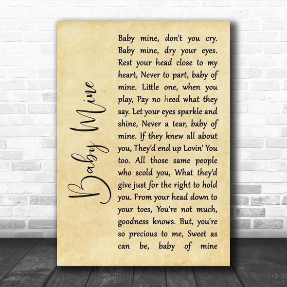Bette Midler Baby Mine Rustic Script Song Lyric Art Print