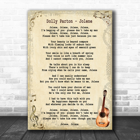 Dolly Parton Jolene Song Lyric Vintage Music Wall Art Print