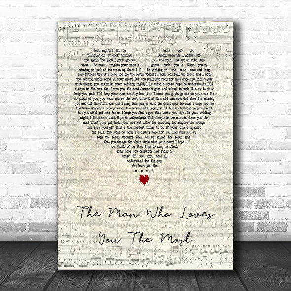 Zac Brown Band The Man Who Loves You The Most Script Heart Song Lyric Art Print