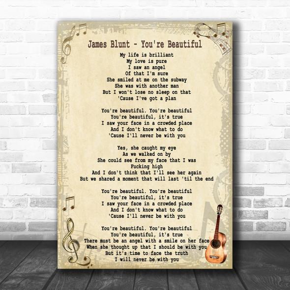 James Blunt You're Beautiful Song Lyric Music Wall Art Print