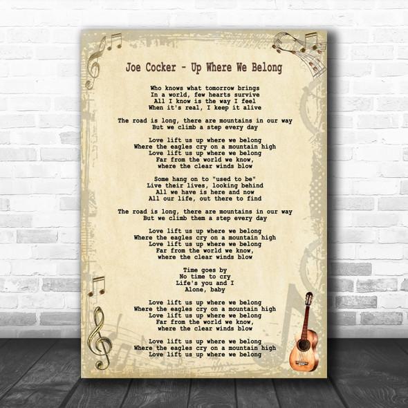 Joe Cocker - Up Where We Belong Song Lyric Guitar Music Wall Art Print