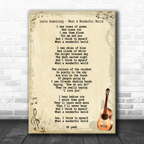 Louis Armstrong What A Wonderful World Song Lyric Vintage Music Wall Art Print