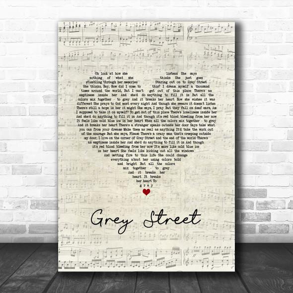 Dave Matthews Band Grey Street Script Heart Song Lyric Art Print