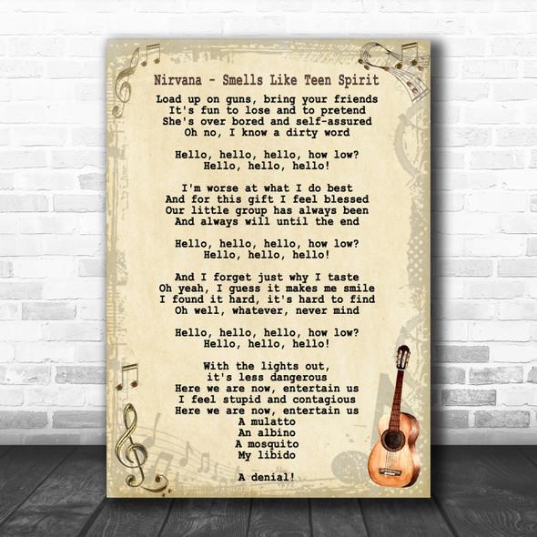 Nirvana Smells Like Teen Spirit Song Lyric Vintage Music Wall Art Print