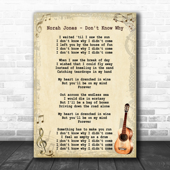 Norah Jones Don't Know Why Song Lyric Vintage Music Wall Art Print