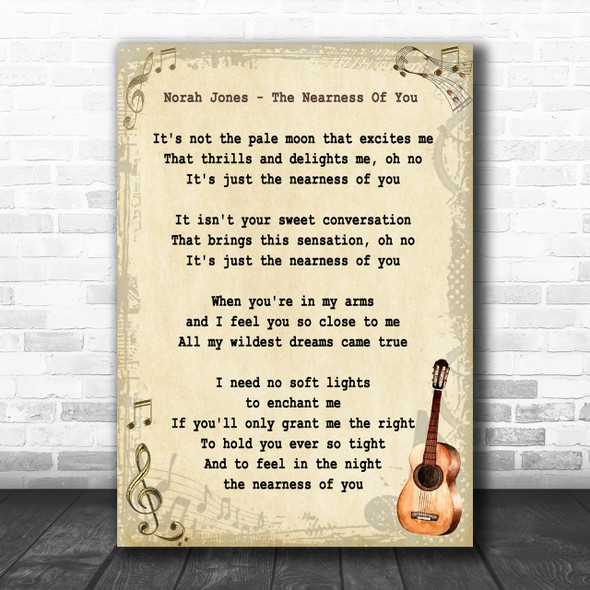 Norah Jones The Nearness Of You Song Lyric Vintage Music Wall Art Print