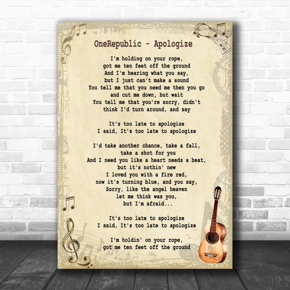 OneRepublic Apologize Song Lyric Vintage Music Wall Art Print