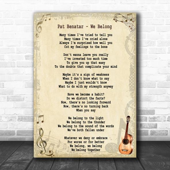 Pat Benatar We Belong Song Lyric Music Wall Art Print