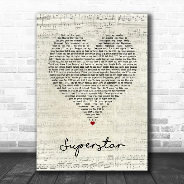 Usher Superstar Script Heart Song Lyric Art Print
