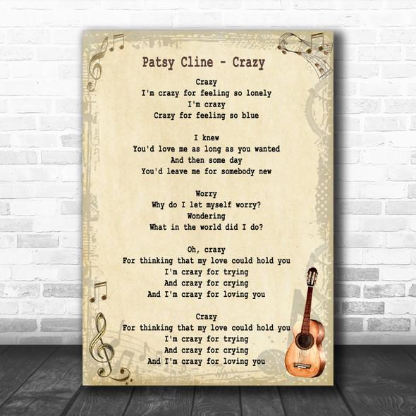 Patsy Cline Crazy Song Lyric Vintage Music Wall Art Print