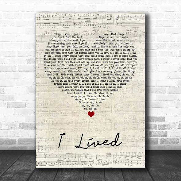 OneRepublic I Lived Script Heart Song Lyric Art Print