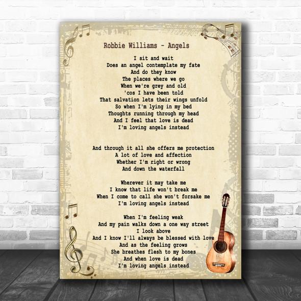 Robbie Williams Angels Song Lyric Vintage Music Wall Art Print