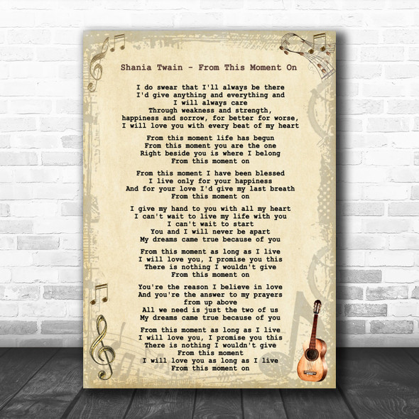 Shania Twain - From This Moment On Song Lyric Guitar Music Wall Art Print