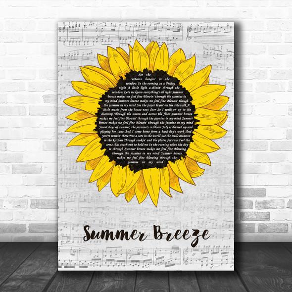 Seals & Crofts Summer Breeze Grey Script Sunflower Song Lyric Art Print